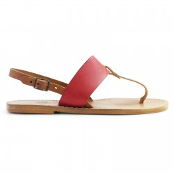 Thong sandals for women Two tone tan and red leather