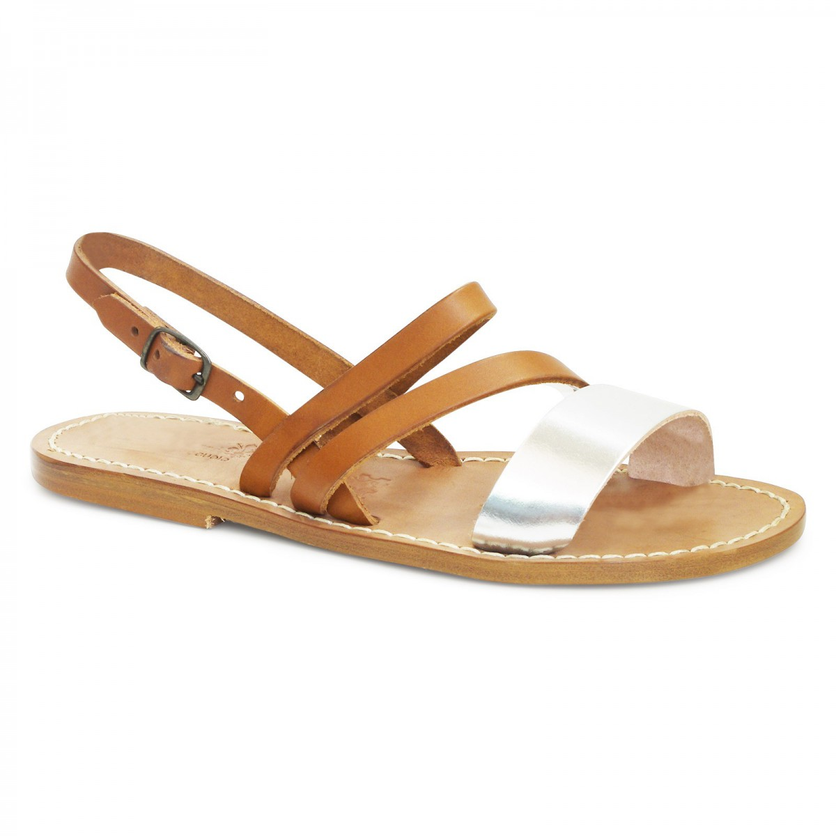 Women S Flat Sandals Handmade In Tan And Silver Leather