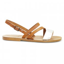 Women's flat sandals handmade in tan and silver leather