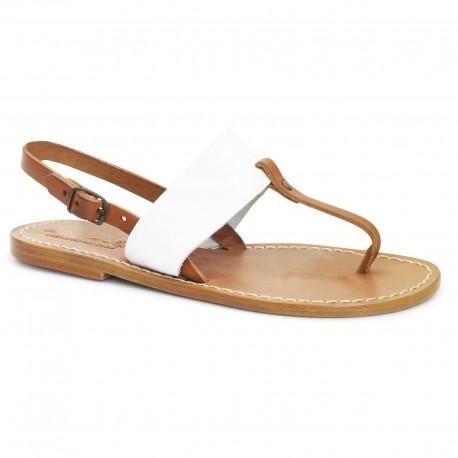 Sandalias planas mujeres de piel dos tonos marrón y blanco