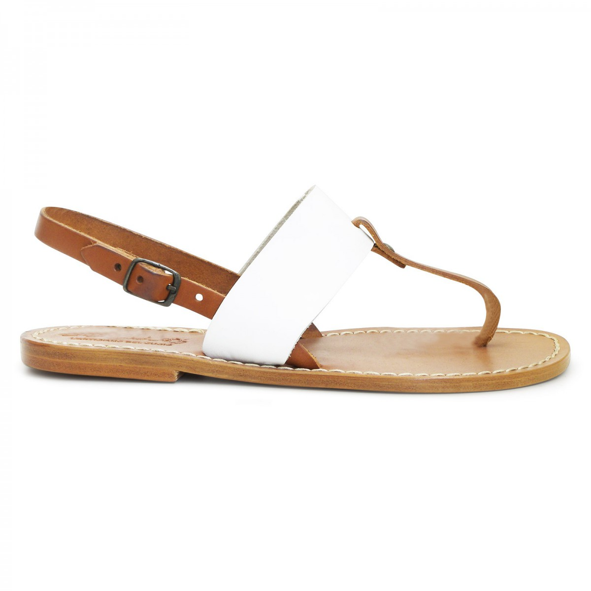 f0f50f6c1 ... Thong sandals for women Two tone tan and white leather ...