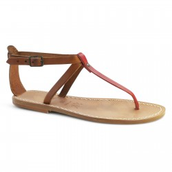 Handmade T strap sandals Two tone tan red Leather