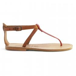 Zweifarbige T-Steg-Sandalen aus hell-braunem und rotem Leder