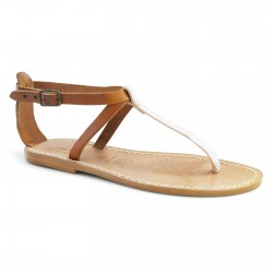 Handmade T-strap sandals Two tone tan silver Leather