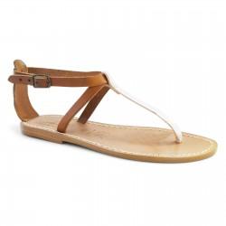 Zweifarbige T-Steg-Sandalen aus hellbraunem und silbernem Leder