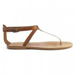 T-correa sandalias de mujer en piel marrón claro y plata