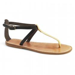 Zweifarbige T-Steg-Sandalen aus hellbraunem und goldenem Leder