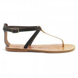 Handmade T-strap sandals Two tone brown gold Leather