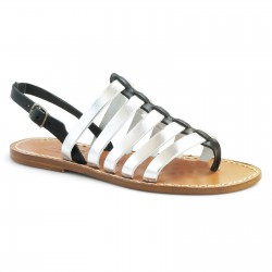 Two tone black silver leather thong sandals for women