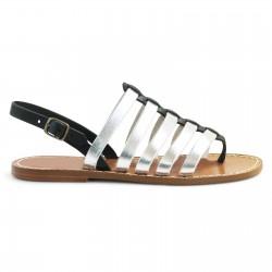Sandals tongs femme en cuir noir et argent artisanales