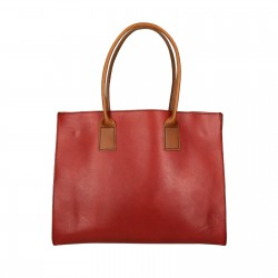 Cabas en cuir rouge et marron fait main pour femmes