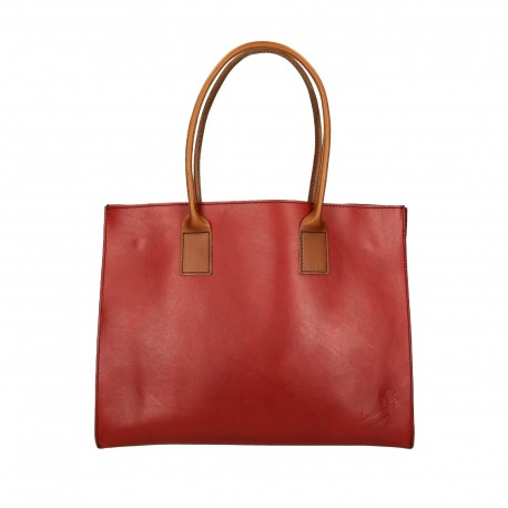 Shopping bag in pelle rosso e marrone artigianale