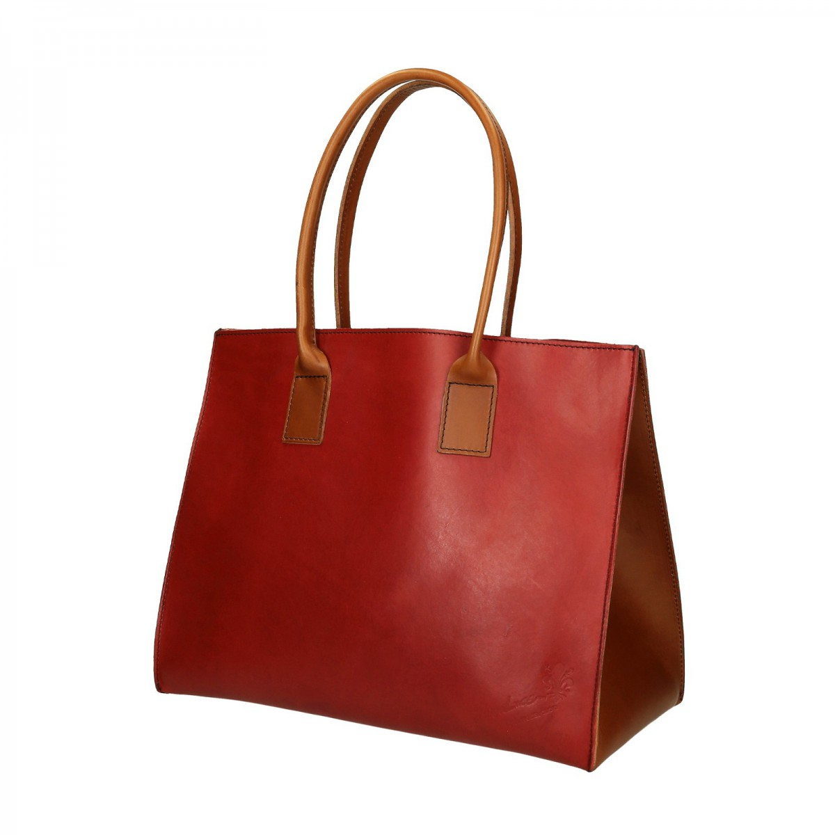 Two tone red tan leather tote bag for women Handmade ...