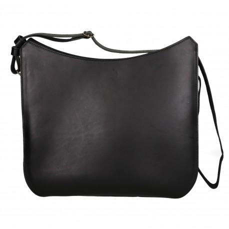 Handmade black leather shoulder bag long strap