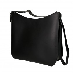 Handmade black leather shoulder bag long strap