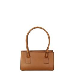 Hand gefertigte Damen-Handtasche aus beigem italienischem Leder