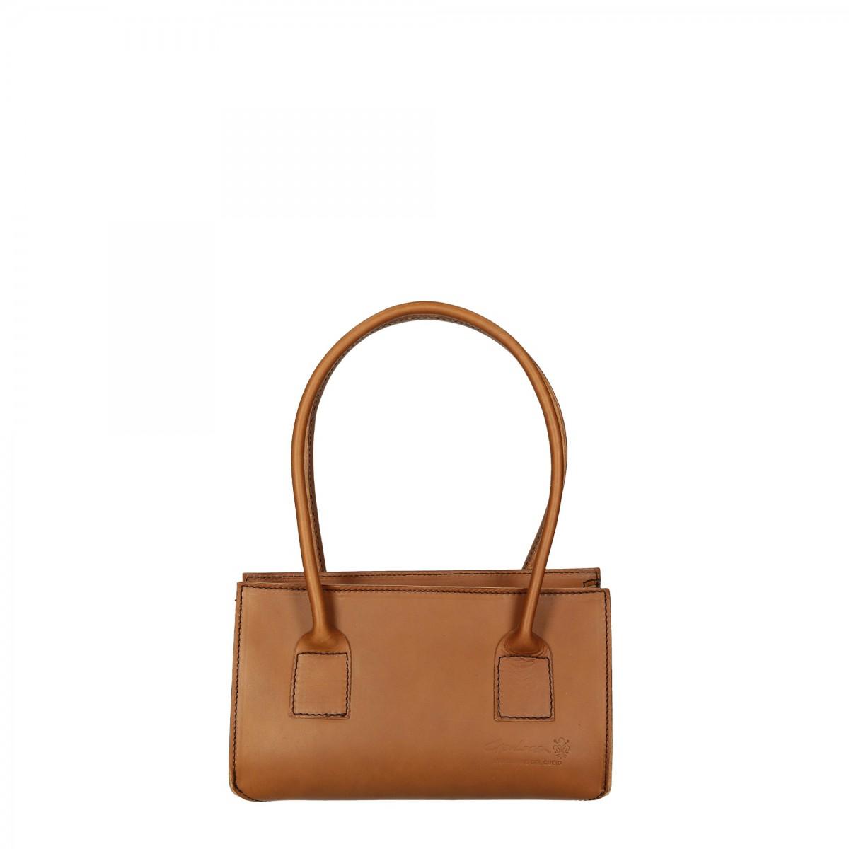 356f829c3c430 Hand gefertigte Damen-Handtasche aus beigem italienischem Leder ...