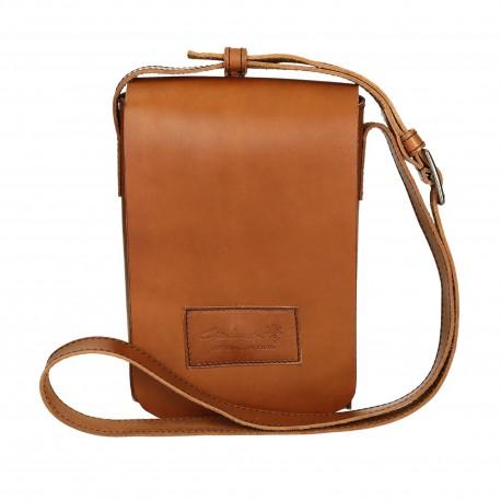 Natural leather shoulder bag long strap Handmade
