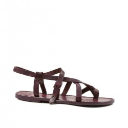 Women's violet strappy sandals handmade in cuir leather