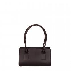 Hand gefertigte kleine Damen-Handtasche aus dunkelbraunem Leder