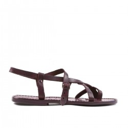 Violetas sandalias de tiras de las mujeres a mano en cuero cuir