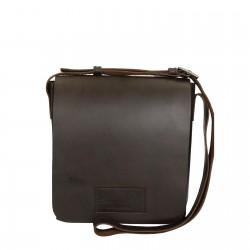 Hand gefertigte Schulter-Tasche aus dunkelbraunem Leder