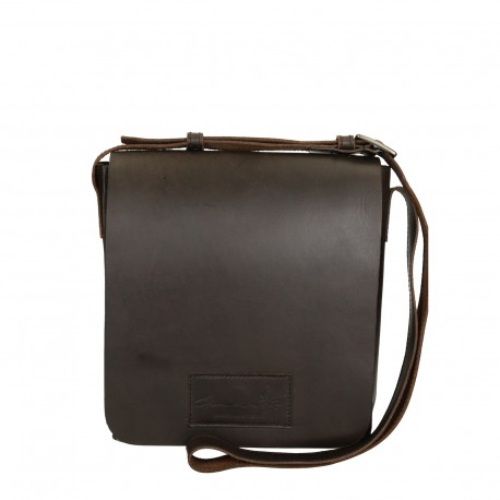 Brown leather shoulder bag long strap Handmade