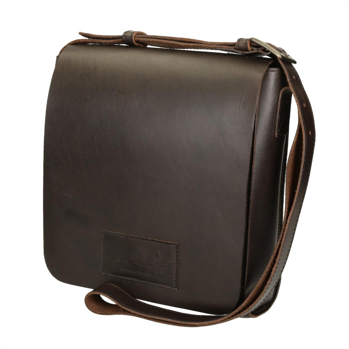 Brown Leather Shoulder Bag Long Strap Handmade Gianluca
