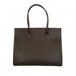 Shopping bag marrone in vera pelle di vacchetta