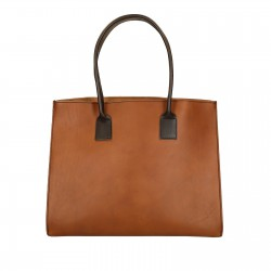 Shopping bag fatta a mano in pelle bicolore