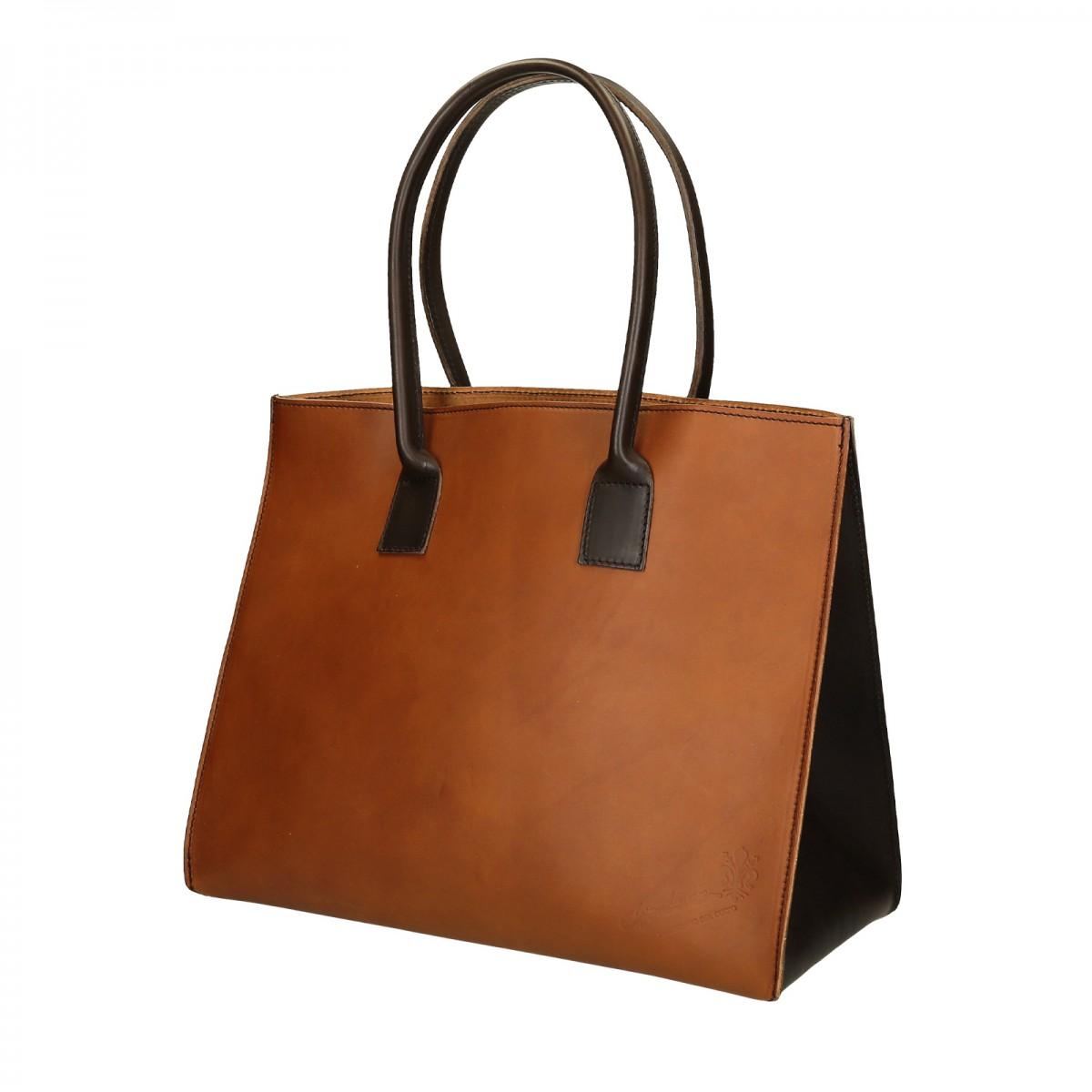 zweifarbige hand gefertigte shopping tasche f r damen aus. Black Bedroom Furniture Sets. Home Design Ideas