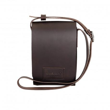 Petit sac bandoulière en cuir marron foncé artisanale