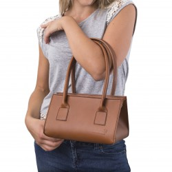 Handmade tan leather small handbag for women