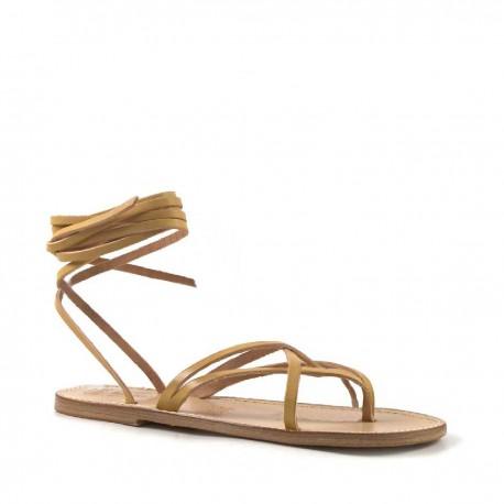Damen-Sandalen aus elfenbeinfarbenem Leder mit Ledersohle in Italien von Hand gefertigt