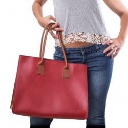 Two tone red tan leather tote bag for women Handmade