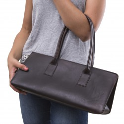 Handmade brown leather large handbag for women