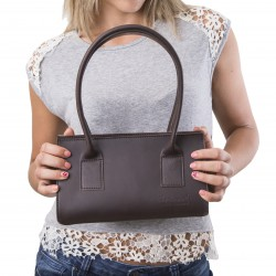 Brown leather small handbag for women Handmade