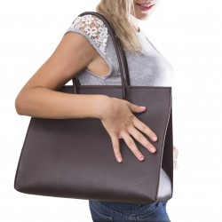 Bolso shopping de cuero marrón hechos a mano