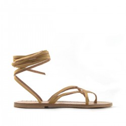 Sandali a schiava di cuoio donna fatti a mano in Italia in pelle avorio