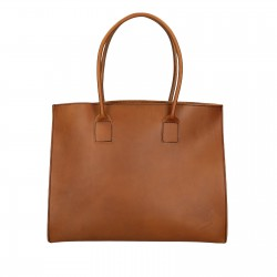 Shopping bag fatta a mano in pelle color cuoio