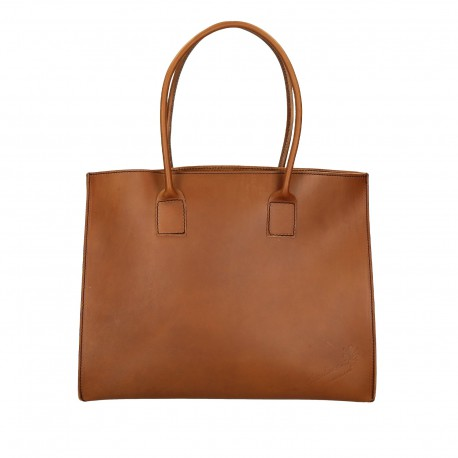 Handmade tote bag for women in tan leather