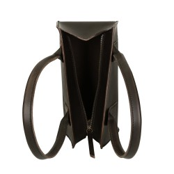 Bolso de mano de cuero negro artisanales pequeña