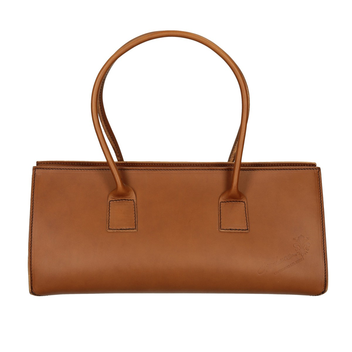brown leather handbag for handmade in italy