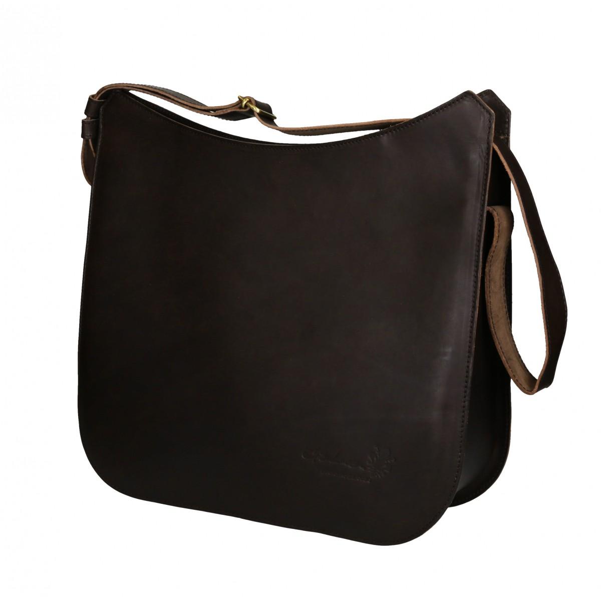 sac en cuir marron bandouli re fait main en italie. Black Bedroom Furniture Sets. Home Design Ideas