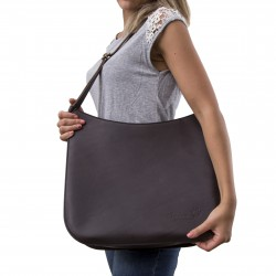 Brown leather shoulder bag long strap Handmade