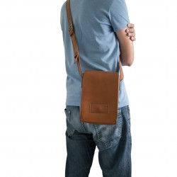 Natural leather shoulder bag long strap Handmade
