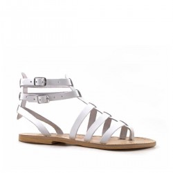 White gladiator sandals for ladies Handmade in Italy in genuine leather