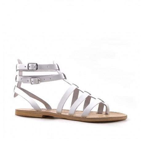 Damen-Sandalen im Gladiator-Stil aus weißem Leder mit Ledersohle in Italien von Hand gefertigt