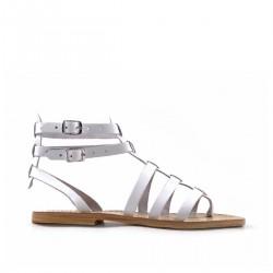 Sandales gladiateur femme en cuir blanc travaillé à la main en Italie