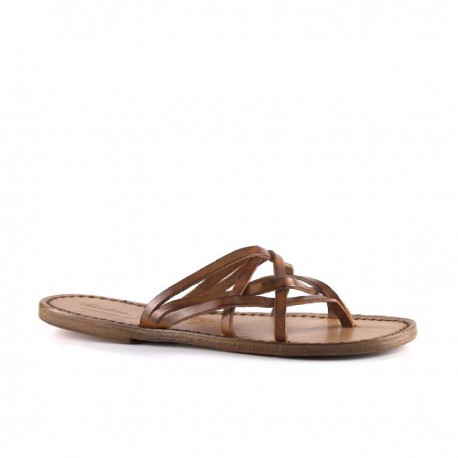 Manmade vintage cuir leather strips womens slides with leather sole